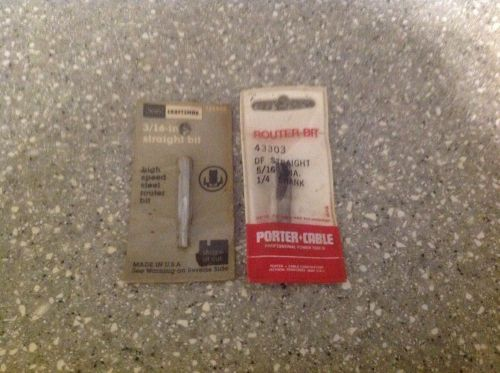 "Craftsman 3/16"" straight high speed steel router bit 25520 & porter cable 5/16"""
