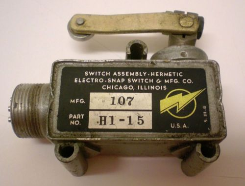 "Switch assembly-hermetic, ""electro-snap switch, mfg co""., 2"" roller lever, usa"