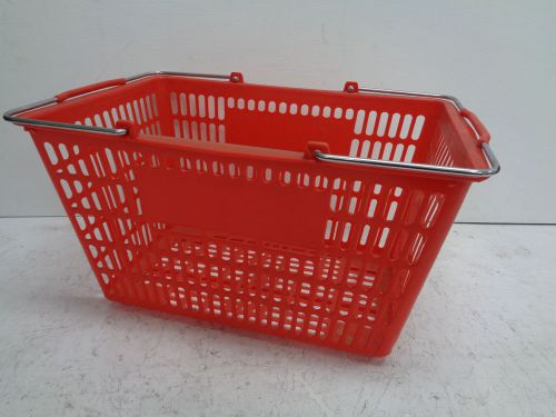 Lot of 7 used shopping / grocery basket, steel handle with red plastic basket