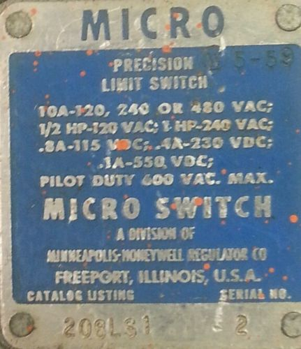 Micro Switch by Honeywell 208LS1 Precision Limit Switch - serial #2 - USED, US $39.00 – Picture 12
