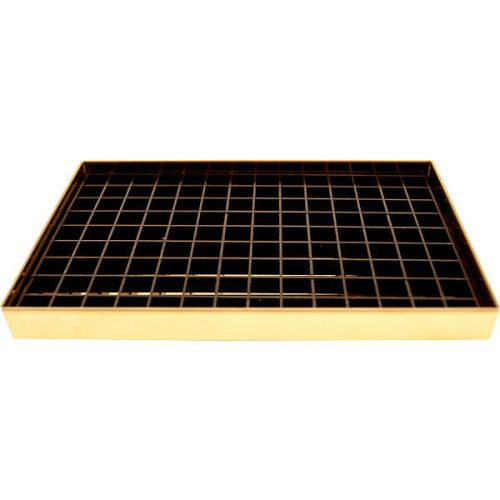 8 1 8 Flanged Mount Drip Tray Brass Finish w Drain Draft Beer Spill Catcher
