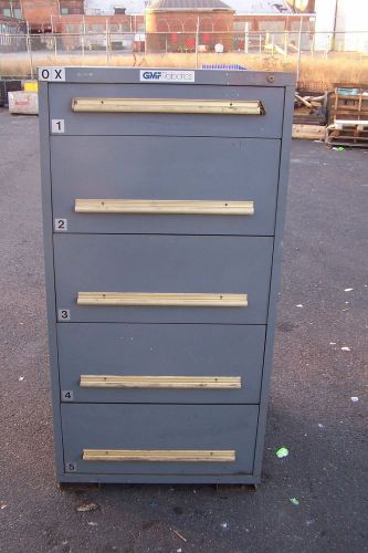 "Equipto grey 5 drawer industrial tool/parts cabinet 30""l x 28""w x 59"" h"