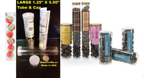 12 large clear plastic packaging tubes 1.25� x 5.50� storage tubes
