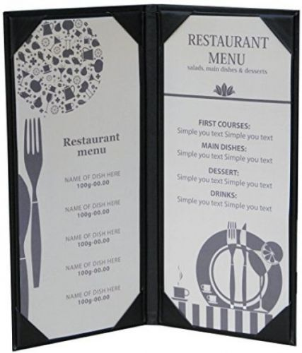4 3/4 x 11 inches, double view menu cover sold by case (packed of 5 pcs)