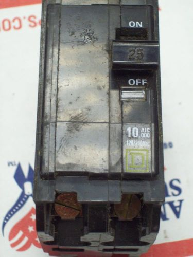 Square d qo225 breaker 2 pole/ 25 amp / 120/240 vac used