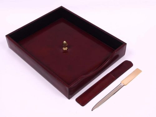 Bosca cognac fine leather tray & letter opener desk set nib $185 executive gift