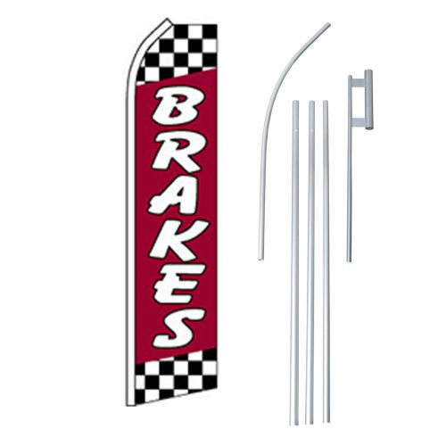 Brakes flag swooper feather sign banner 15ft kit made in usa