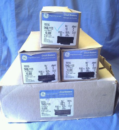 Box 10 ge thql1120 1 pole model c 120/240v 20 amps plug in circuit breaker nib