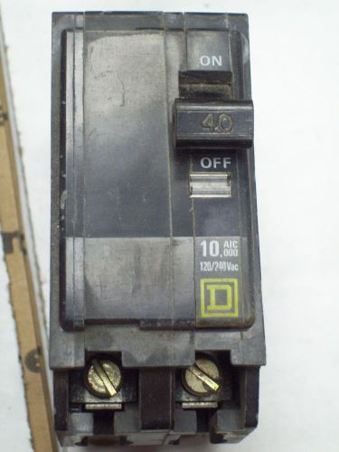 Square d qo240 breaker 2 pole/ 40 amp / 120/240 vac used