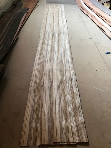 "Wood veneer zebrawood 9x116 3pcs total raw veneer  ""exotic"" ze.s1 11-17-16"