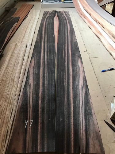 "Wood veneer ebony 8x100 2pcs total raw veneer  ""exotic"" eb.s2 11-17-16"