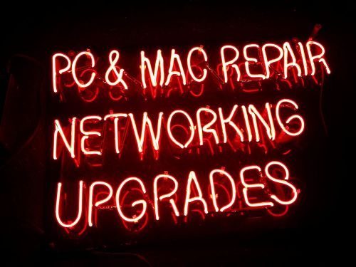 Neon sign store computer cell phone networking repair center mac laptop