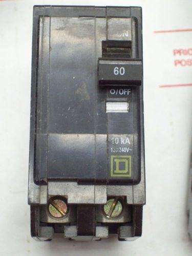 Square d qo260 breaker 2 pole/ 60 amp / 120/240 vac used
