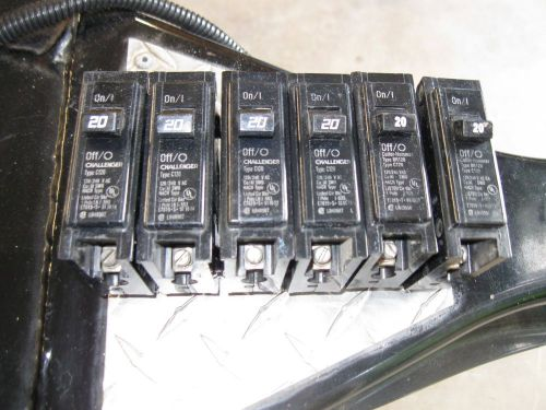 Challenger c120- 20 amp 1 pole breakers- ( lot of 6)