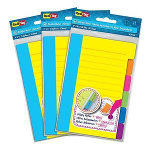 "Redi-tag divider sticky notes 60 ruled notes per pack 4"" x 6"" assorted neon c..."