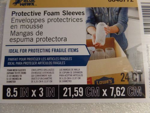 "Made in usa blue hawk protective foam sleeves "" for fragile items"" 8.5 x 3 24ct"