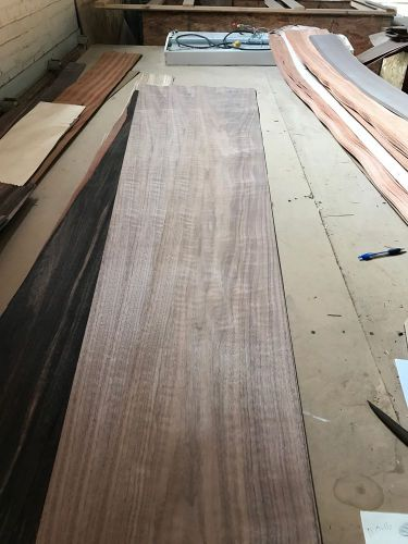 "Wood veneer figured walnut 12x100 10pcs total raw veneer  ""exotic"" wal.c1 11-17"