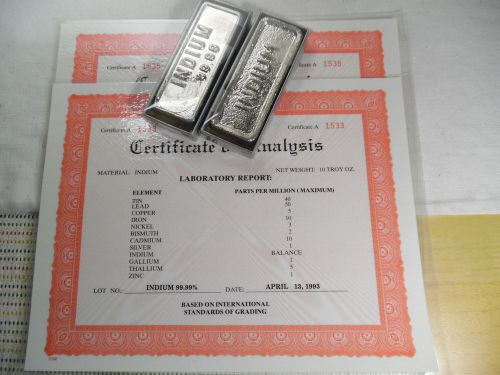 Indium metal ingot 20 troy oz 99.99% pure (includes certificate), 1.67 lbs